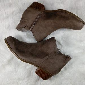Torrid Women Tan Suede Side Zip Booties Size 12.5